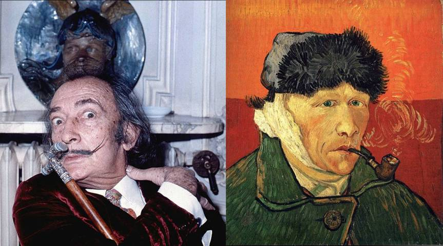 Left: Portrait of Salvador Dali (taken in Hôtel Meurice, Paris, by Allen Warren, 1972). Right: Self-portrait with bandaged ear and pipe (van Gogh, 1889). Courtesy of Wikipedia.