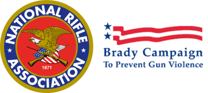 Logos of the National Rifle Association and the Brady foundation, respectively, who have opposite views regarding gun legislation.