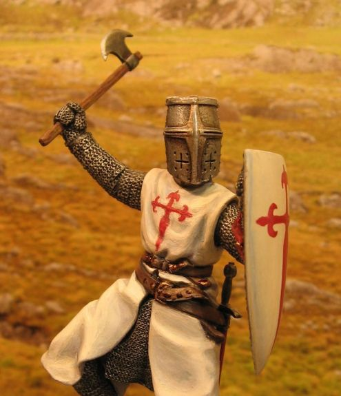 Medieval knight dressed in an outfit with the Cross of St James of Compostela. From Galicianflag.